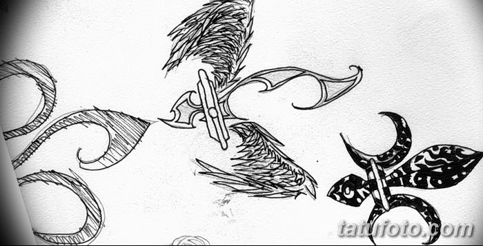эскиз тату геральдическая лилия 12.11.2018 №027 - sketch tattoo heraldic lily - tatufoto.com