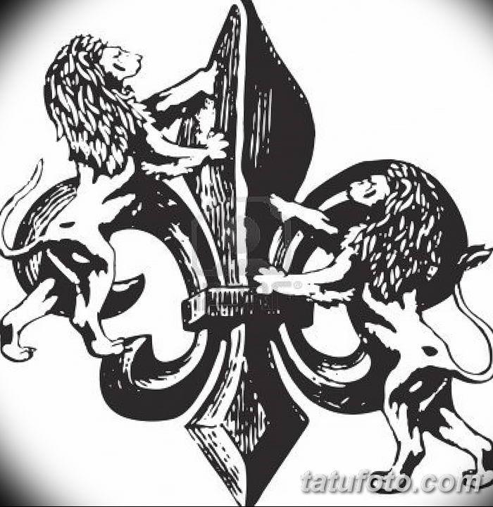 эскиз тату геральдическая лилия 12.11.2018 №039 - sketch tattoo heraldic lily - tatufoto.com