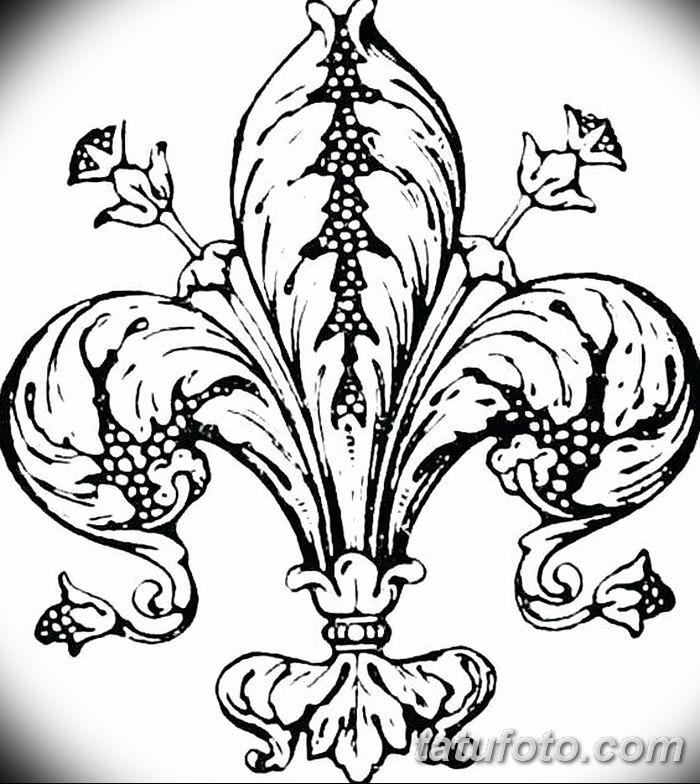 эскиз тату геральдическая лилия 12.11.2018 №045 - sketch tattoo heraldic lily - tatufoto.com