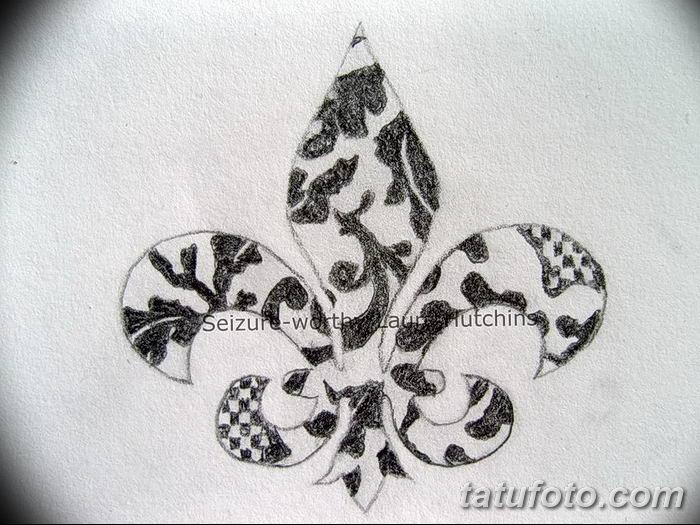 эскиз тату геральдическая лилия 12.11.2018 №049 - sketch tattoo heraldic lily - tatufoto.com