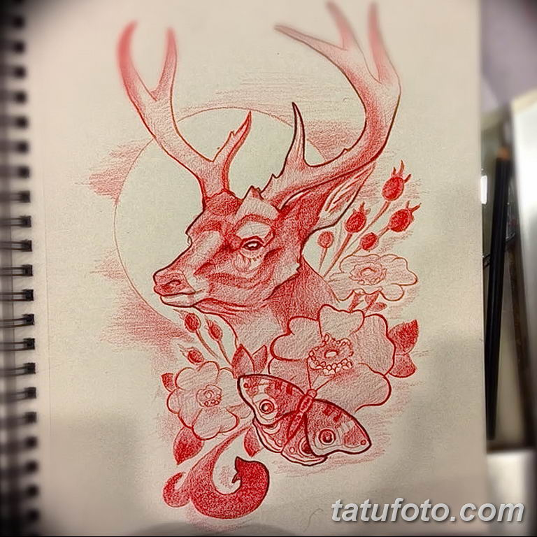 эскиз тату олень 23.02.2019 №006 - sketch tattoo deer - tatufoto.com