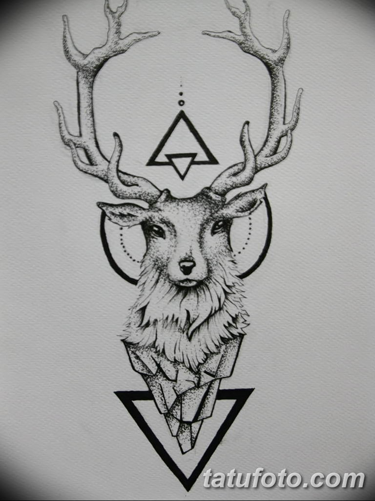 эскиз тату олень 23.02.2019 №007 - sketch tattoo deer - tatufoto.com