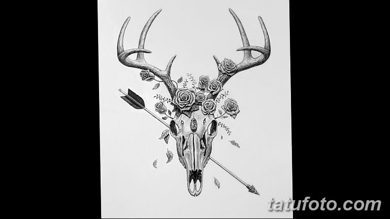 эскиз тату олень 23.02.2019 №008 - sketch tattoo deer - tatufoto.com