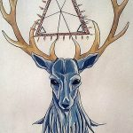 эскиз тату олень 23.02.2019 №014 - sketch tattoo deer - tatufoto.com
