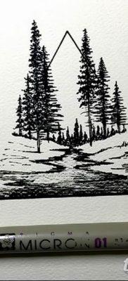 мужской эскиз тату с лесом 09.03.2019 №009 – tattoo sketches – tatufoto.com