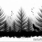 мужской эскиз тату с лесом 09.03.2019 №017 - tattoo sketches - tatufoto.com