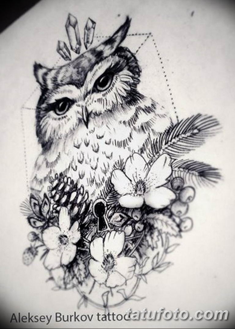 тату сова эскиз для девушек 08.03.2019 №059 - tattoo sketches - tatufoto.com