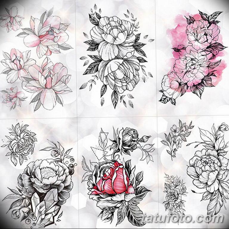 тату эскизы для девушек цветы 08.03.2019 №032 - tattoo sketches - tatufoto.com