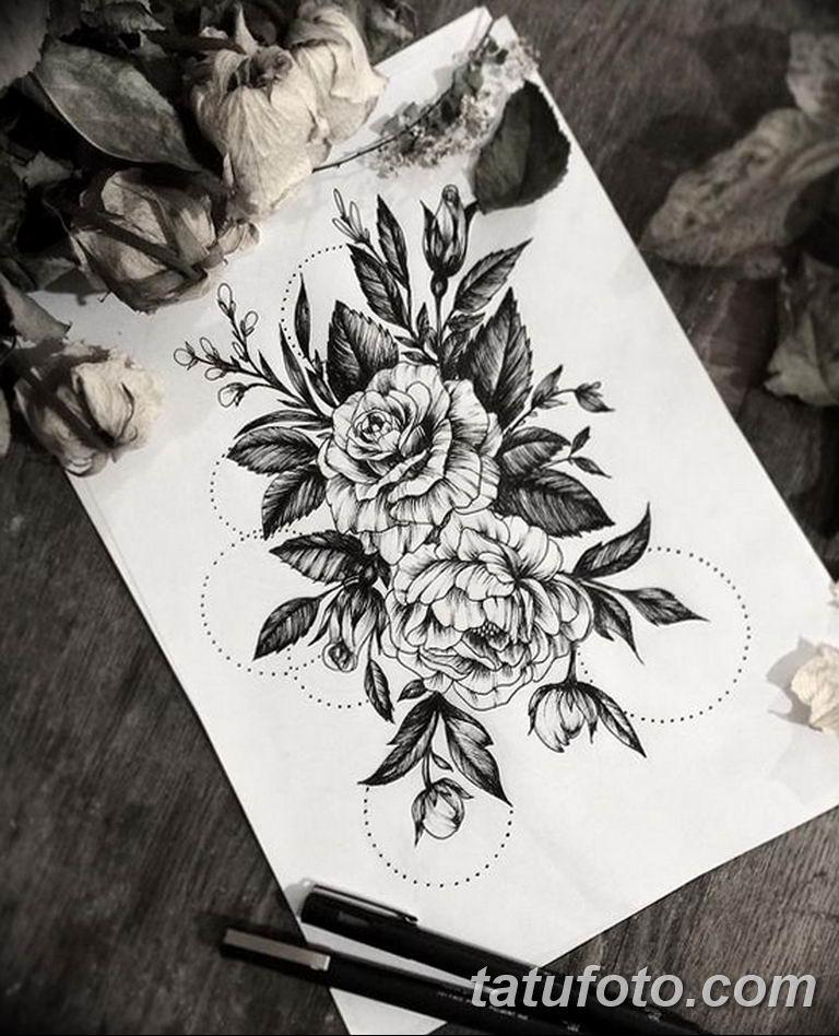 тату эскизы для девушек цветы 08.03.2019 №033 - tattoo sketches - tatufoto.com