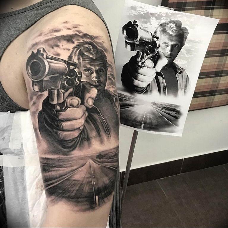 фото тату с пистолето 04.03.2019 №089 - photo tattoo with a gun - tatufoto.com