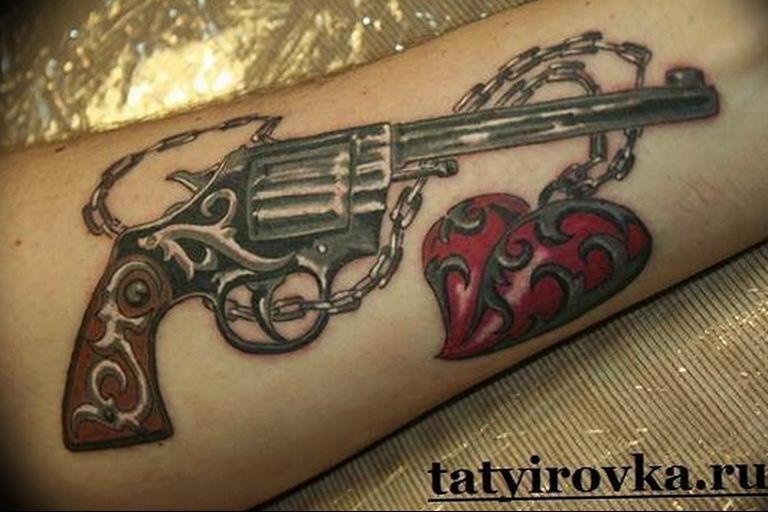 фото тату с пистолето 04.03.2019 №143 - photo tattoo with a gun - tatufoto.com