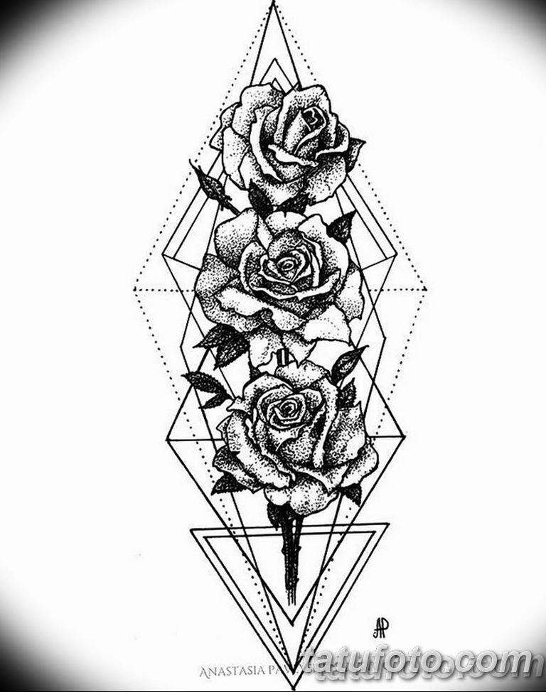 Черно белый эскиз тату с цветами: черно белый эскиз тату геометрия 09.03.2019 №061