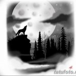 черно белый эскиз тату лес 09.03.2019 №028 - tattoo sketch - tatufoto.com