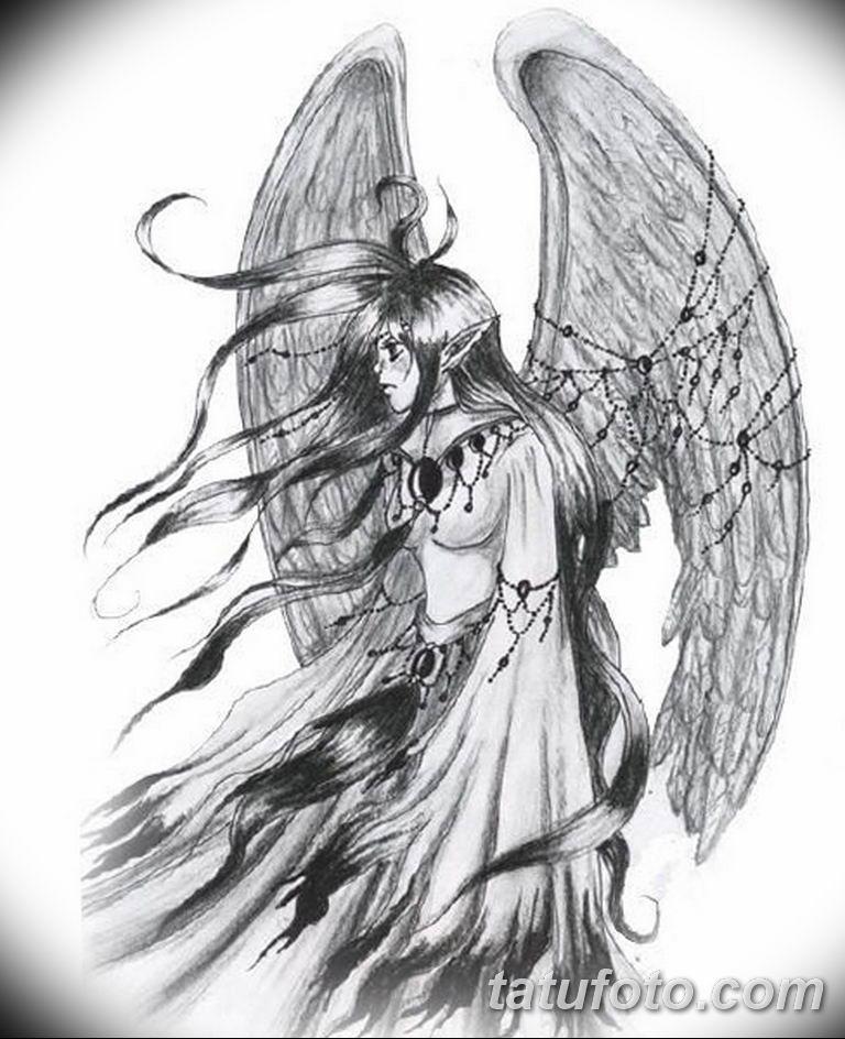 черно белый эскиз тату рисункок ангел 11.03.2019 №001 - tattoo sketch - tatufoto.com