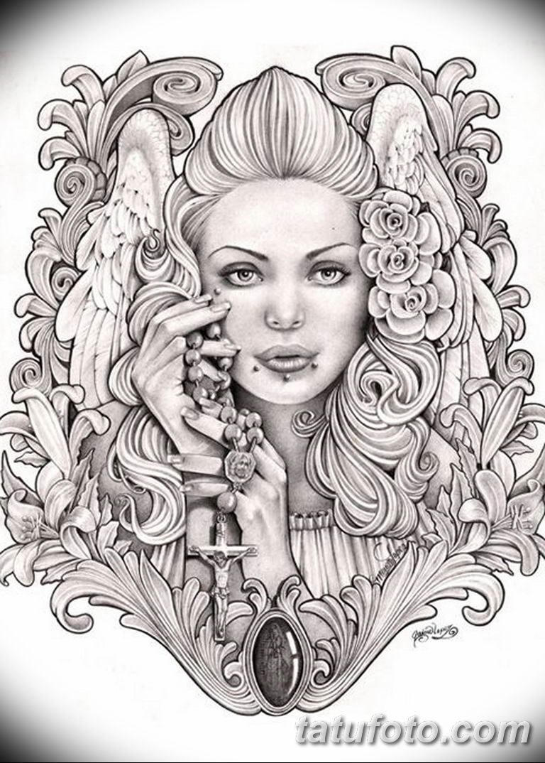 черно белый эскиз тату рисункок ангел 11.03.2019 №008 - tattoo sketch - tatufoto.com