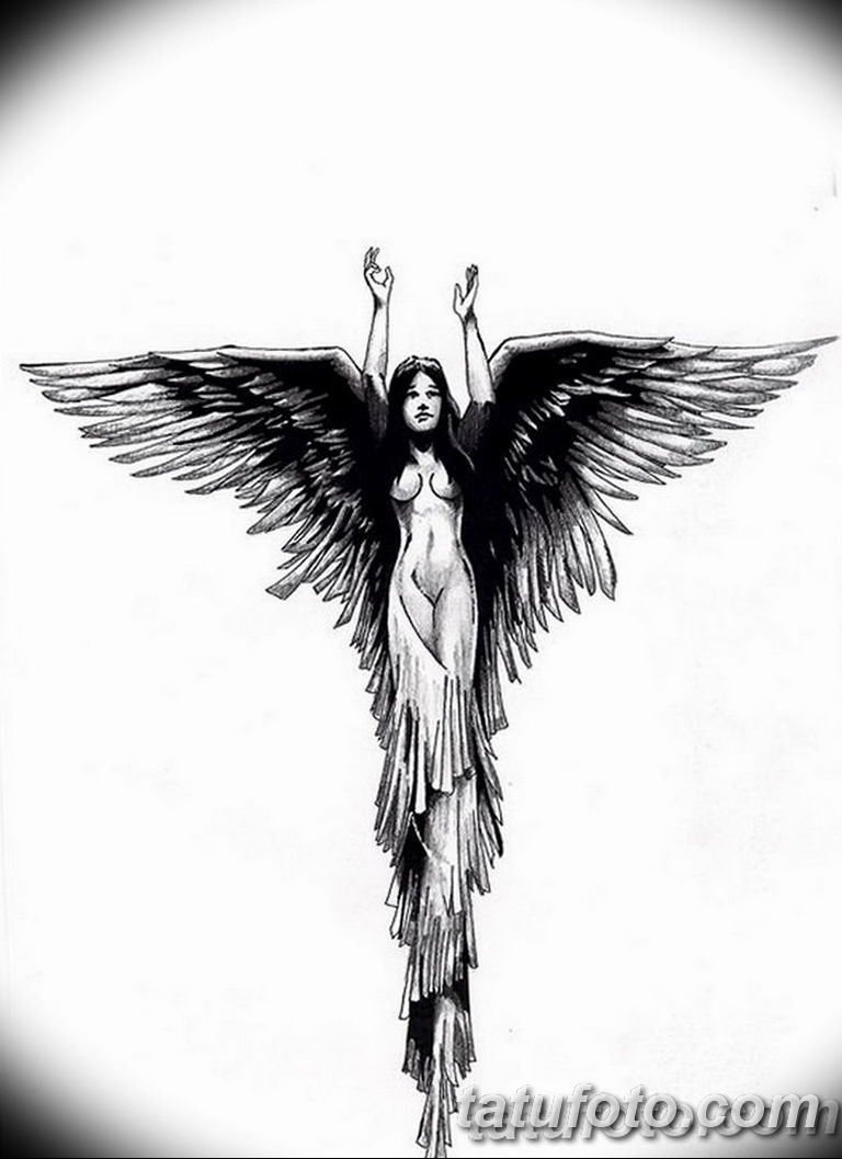 черно белый эскиз тату рисункок ангел 11.03.2019 №010 - tattoo sketch - tatufoto.com