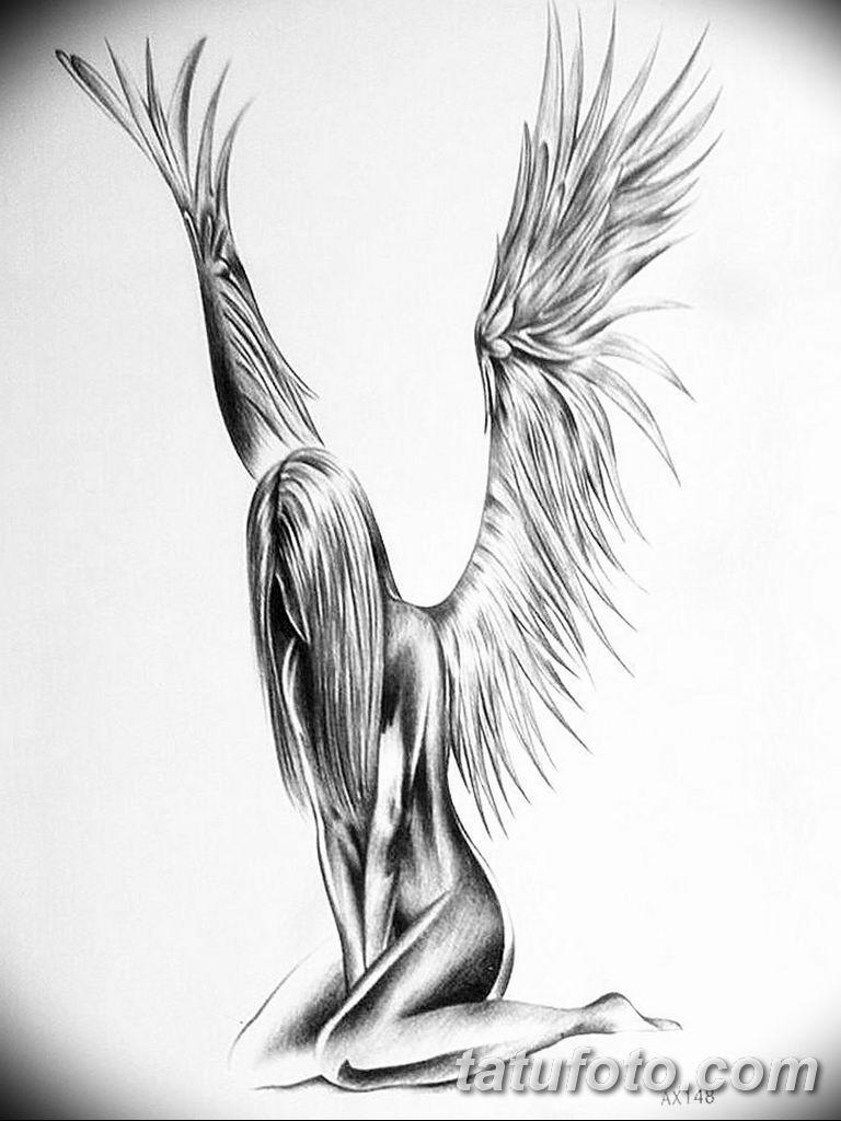 черно белый эскиз тату рисункок ангел 11.03.2019 №011 - tattoo sketch - tatufoto.com