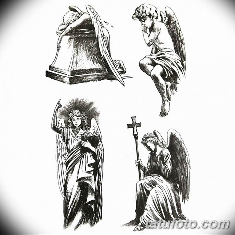 черно белый эскиз тату рисункок ангел 11.03.2019 №012 - tattoo sketch - tatufoto.com