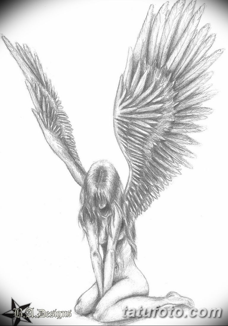 черно белый эскиз тату рисункок ангел 11.03.2019 №017 - tattoo sketch - tatufoto.com