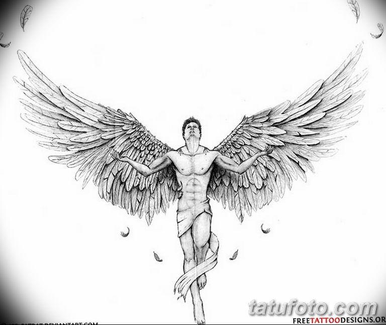 черно белый эскиз тату рисункок ангел 11.03.2019 №022 - tattoo sketch - tatufoto.com