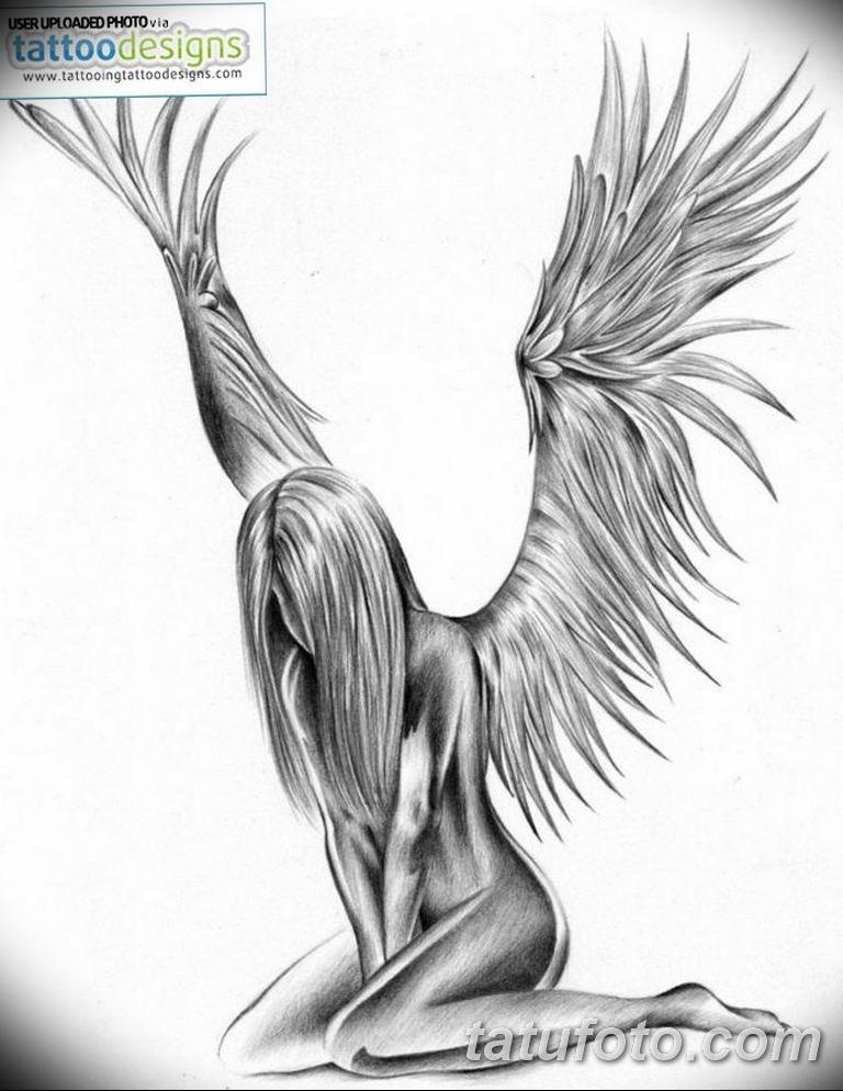 черно белый эскиз тату рисункок ангел 11.03.2019 №023 - tattoo sketch - tatufoto.com