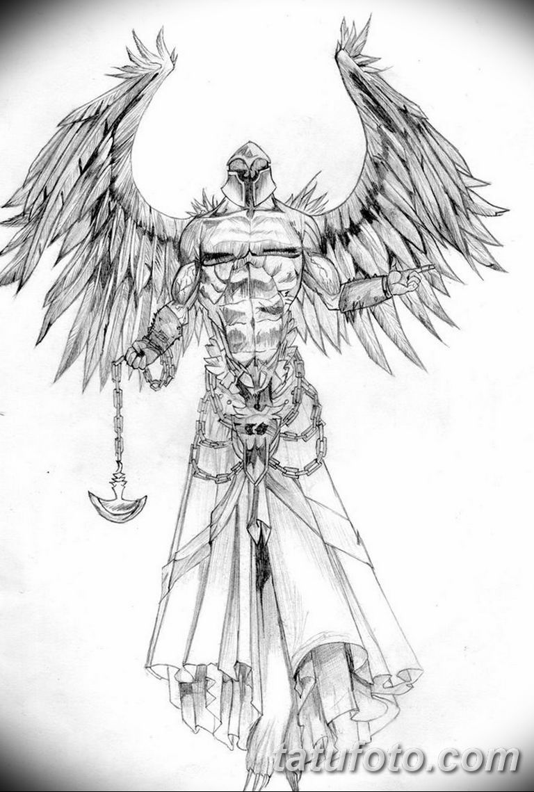 черно белый эскиз тату рисункок ангел 11.03.2019 №025 - tattoo sketch - tatufoto.com