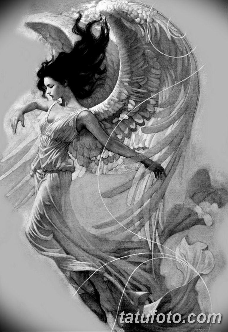черно белый эскиз тату рисункок ангел 11.03.2019 №027 - tattoo sketch - tatufoto.com