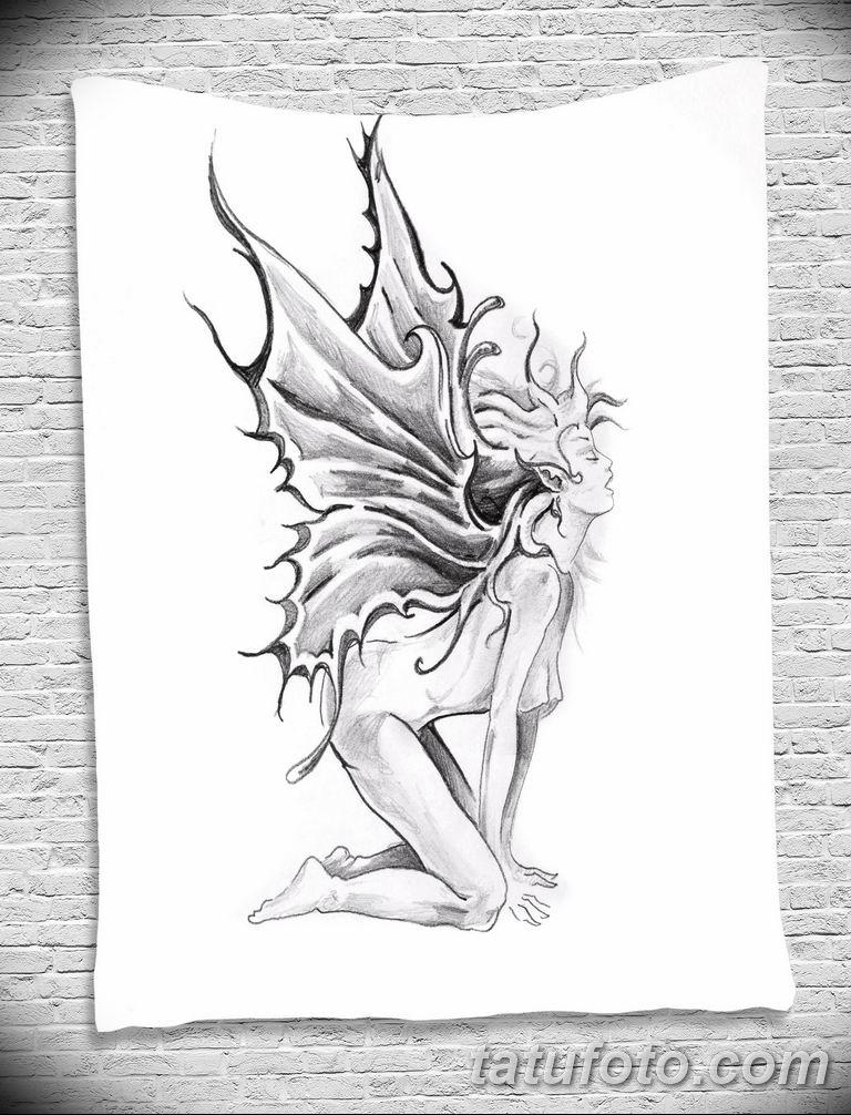 черно белый эскиз тату рисункок ангел 11.03.2019 №028 - tattoo sketch - tatufoto.com