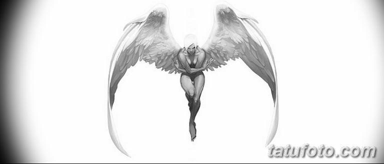 черно белый эскиз тату рисункок ангел 11.03.2019 №029 - tattoo sketch - tatufoto.com