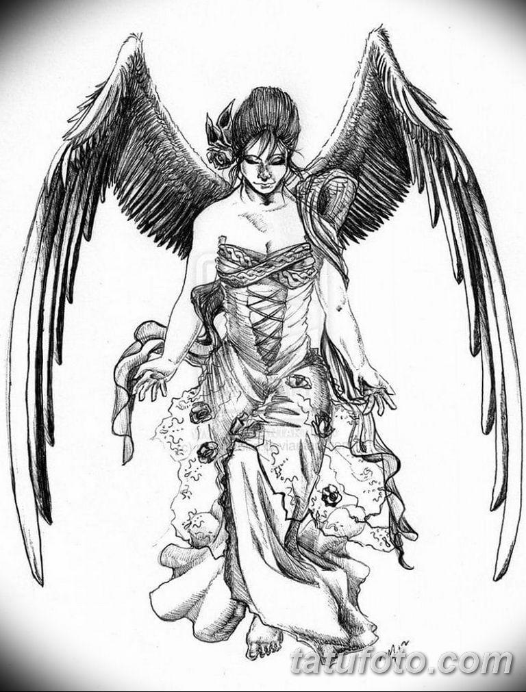черно белый эскиз тату рисункок ангел 11.03.2019 №030 - tattoo sketch - tatufoto.com