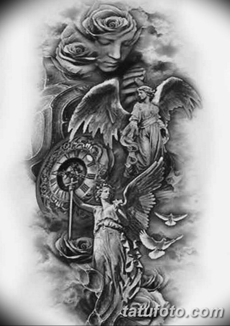 черно белый эскиз тату рисункок ангел 11.03.2019 №031 - tattoo sketch - tatufoto.com