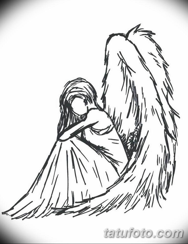 черно белый эскиз тату рисункок ангел 11.03.2019 №034 - tattoo sketch - tatufoto.com