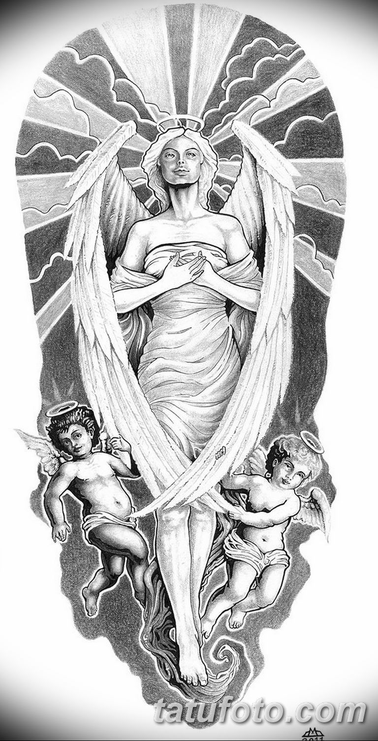 черно белый эскиз тату рисункок ангел 11.03.2019 №035 - tattoo sketch - tatufoto.com