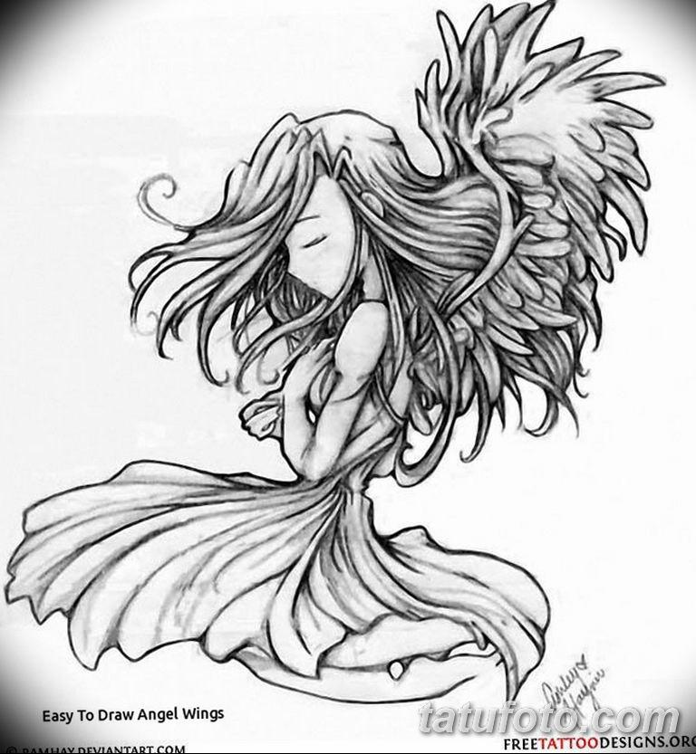 черно белый эскиз тату рисункок ангел 11.03.2019 №037 - tattoo sketch - tatufoto.com