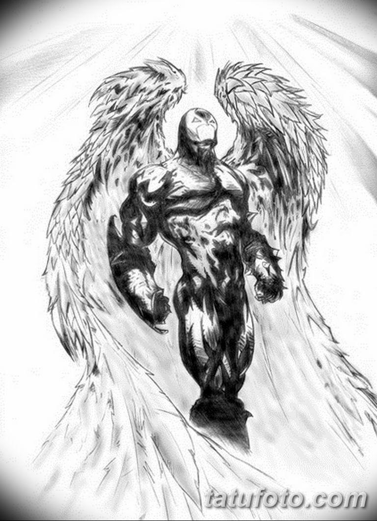 черно белый эскиз тату рисункок ангел 11.03.2019 №038 - tattoo sketch - tatufoto.com