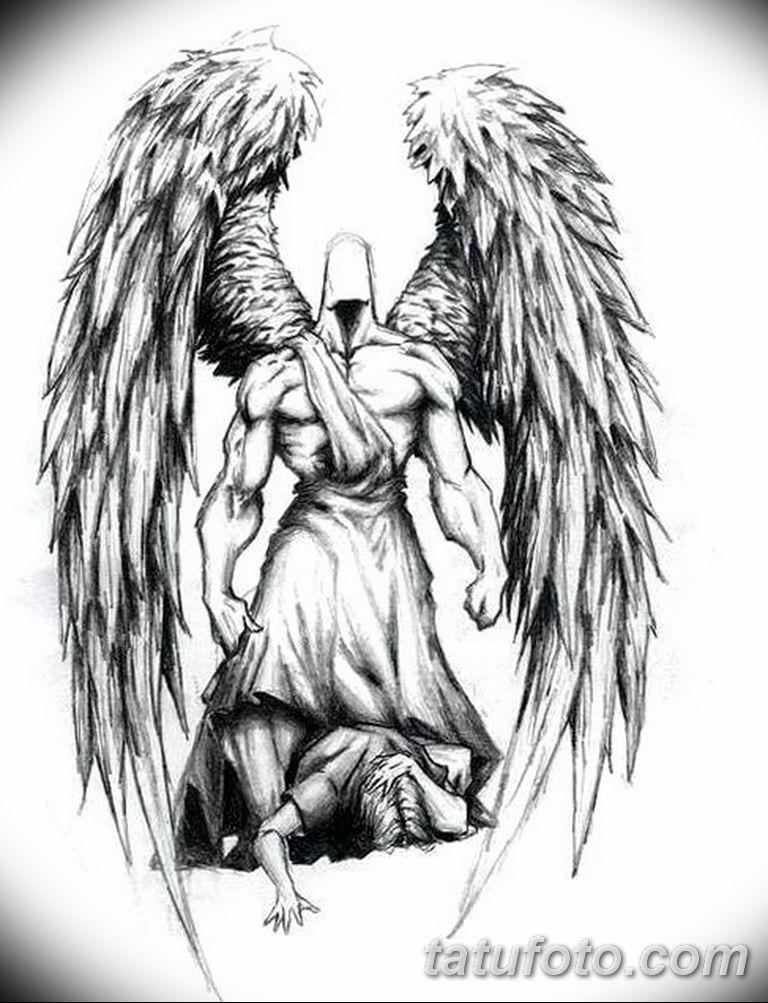 черно белый эскиз тату рисункок ангел 11.03.2019 №039 - tattoo sketch - tatufoto.com