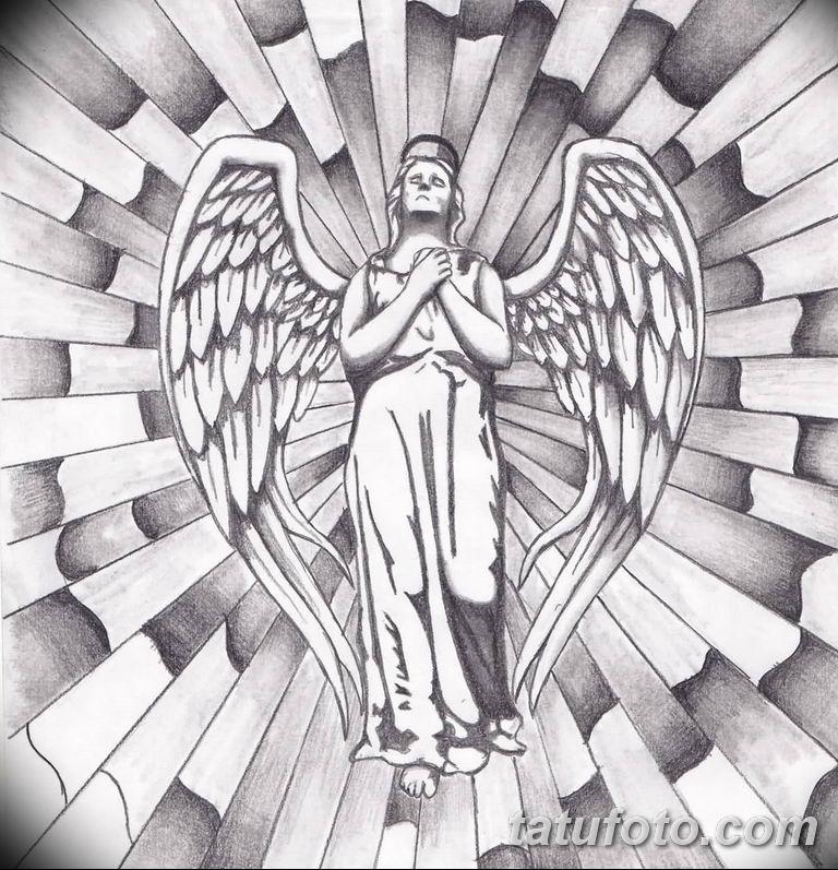 черно белый эскиз тату рисункок ангел 11.03.2019 №041 - tattoo sketch - tatufoto.com