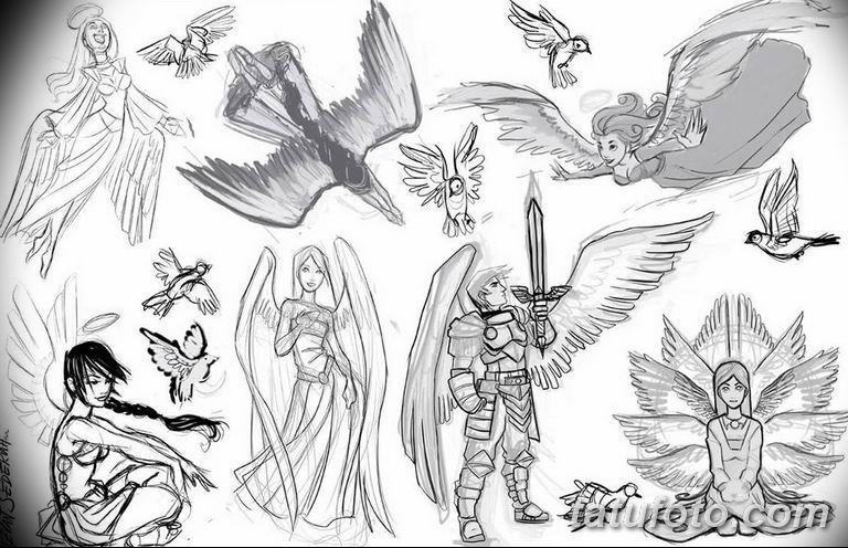 черно белый эскиз тату рисункок ангел 11.03.2019 №042 - tattoo sketch - tatufoto.com