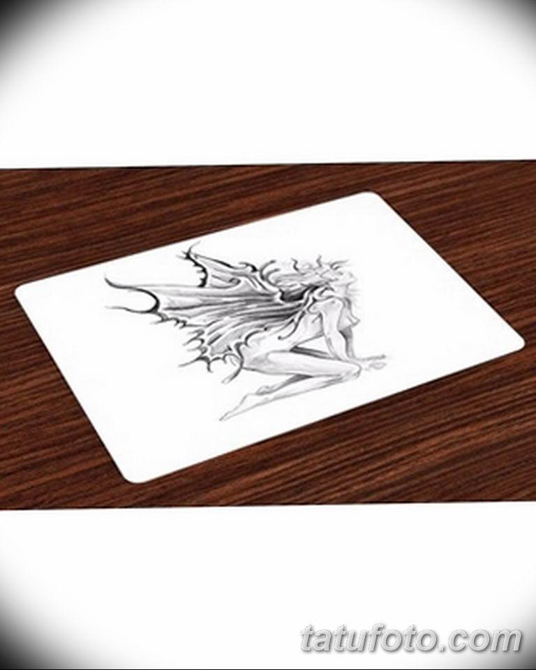 черно белый эскиз тату рисункок ангел 11.03.2019 №047 - tattoo sketch - tatufoto.com