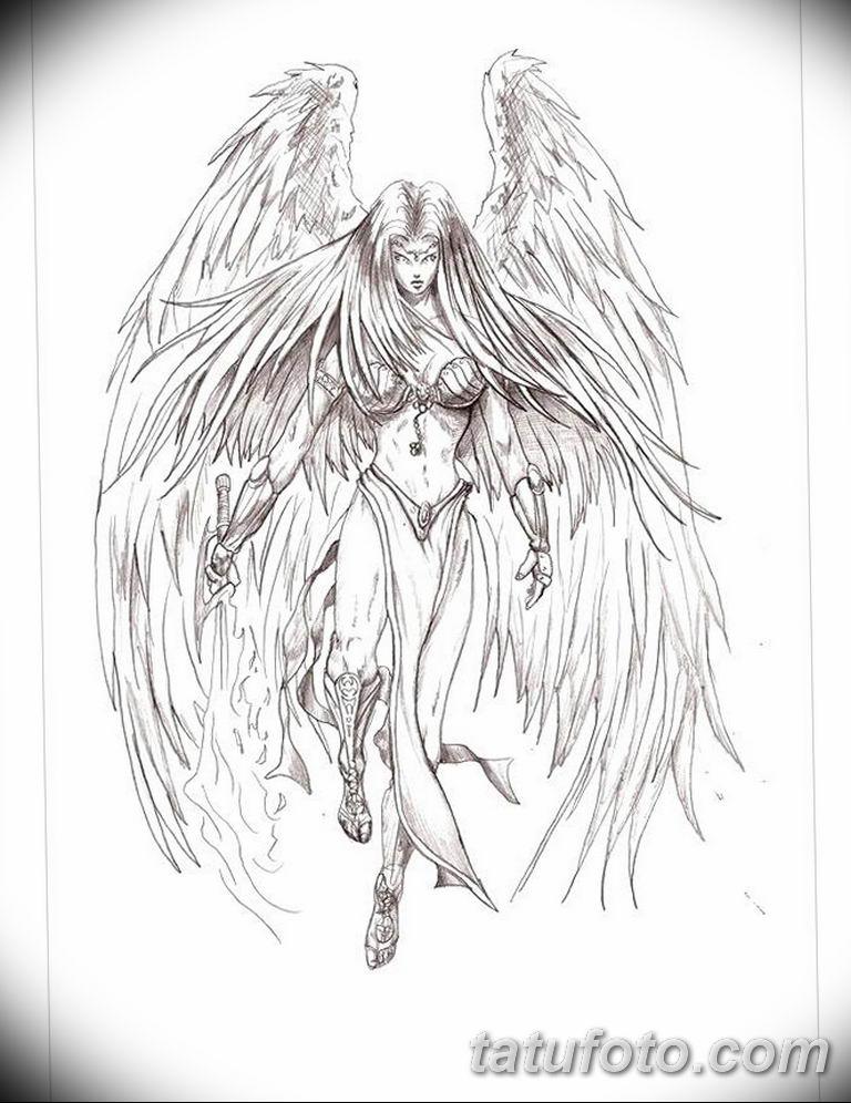черно белый эскиз тату рисункок ангел 11.03.2019 №048 - tattoo sketch - tatufoto.com