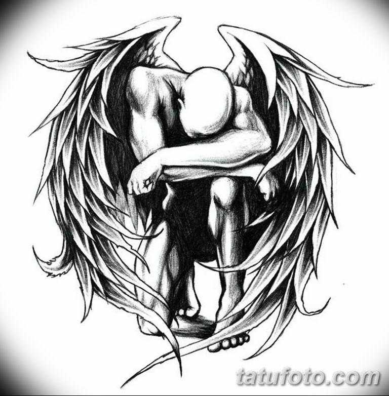 черно белый эскиз тату рисункок ангел 11.03.2019 №051 - tattoo sketch - tatufoto.com