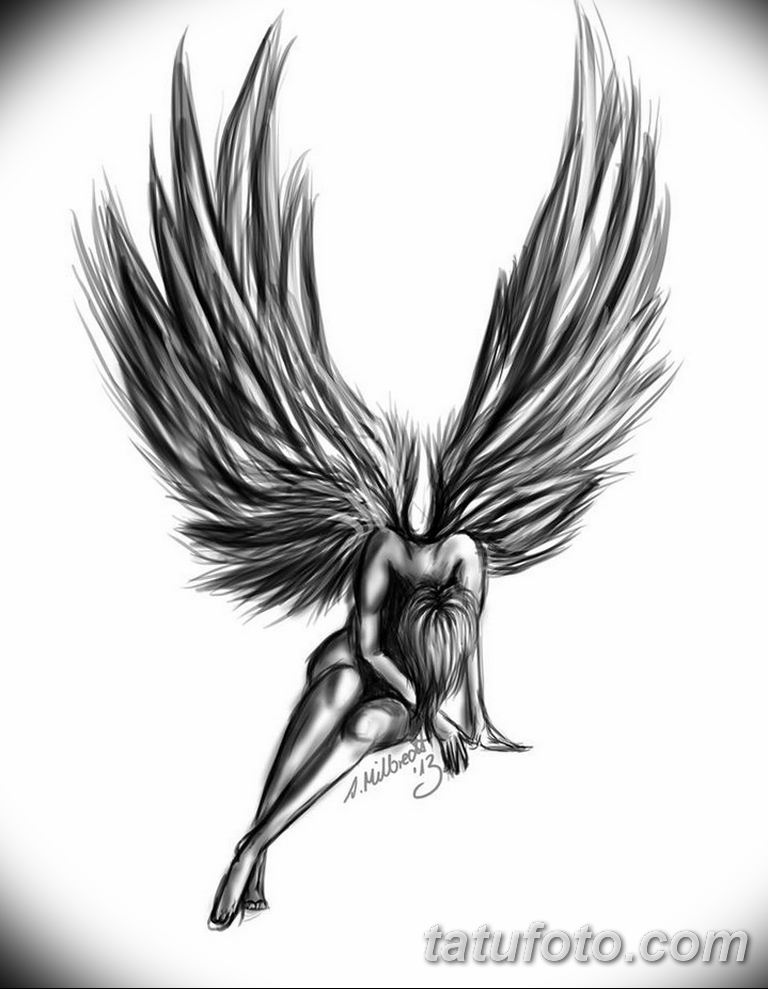 черно белый эскиз тату рисункок ангел 11.03.2019 №063 - tattoo sketch - tatufoto.com
