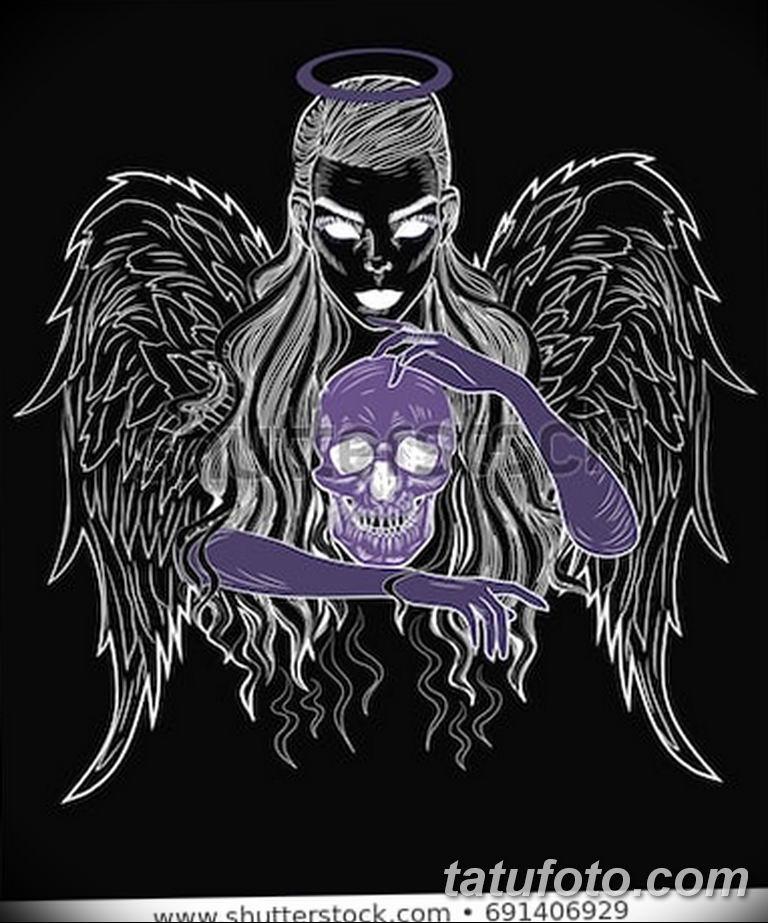 черно белый эскиз тату рисункок ангел 11.03.2019 №065 - tattoo sketch - tatufoto.com