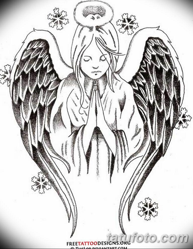 черно белый эскиз тату рисункок ангел 11.03.2019 №069 - tattoo sketch - tatufoto.com
