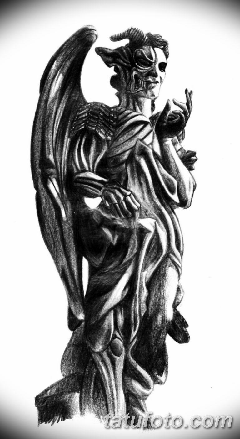черно белый эскиз тату рисункок ангел 11.03.2019 №070 - tattoo sketch - tatufoto.com