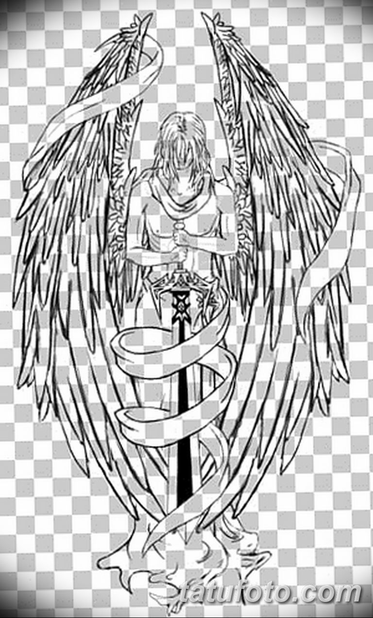 черно белый эскиз тату рисункок ангел 11.03.2019 №074 - tattoo sketch - tatufoto.com