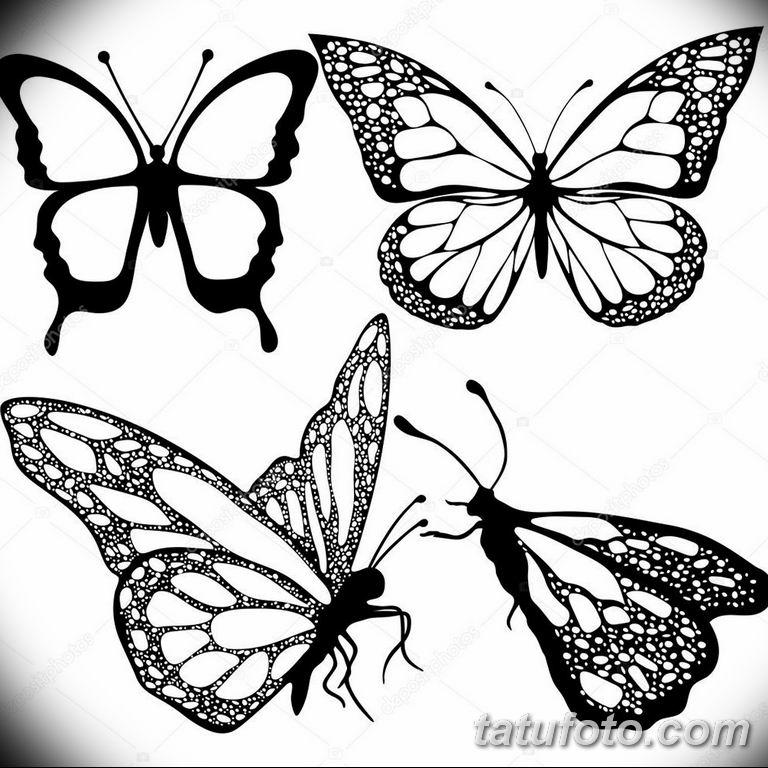 черно белый эскиз тату рисункок бабочка 11.03.2019 №014 - tattoo sketch - tatufoto.com