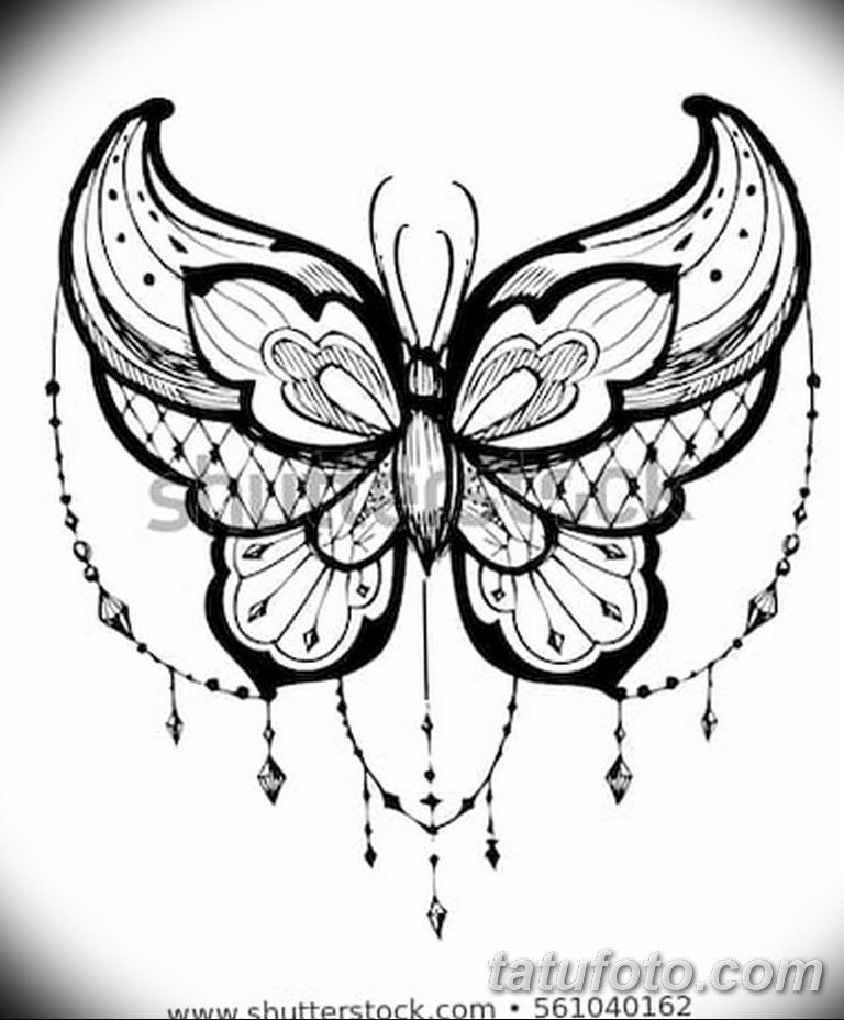 черно белый эскиз тату рисункок бабочка 11.03.2019 №023 - tattoo sketch - tatufoto.com