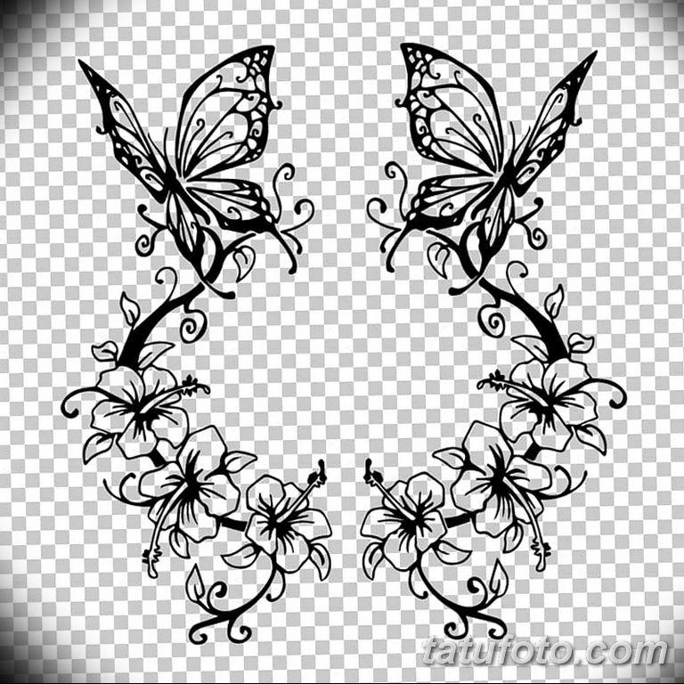черно белый эскиз тату рисункок бабочка 11.03.2019 №056 - tattoo sketch - tatufoto.com