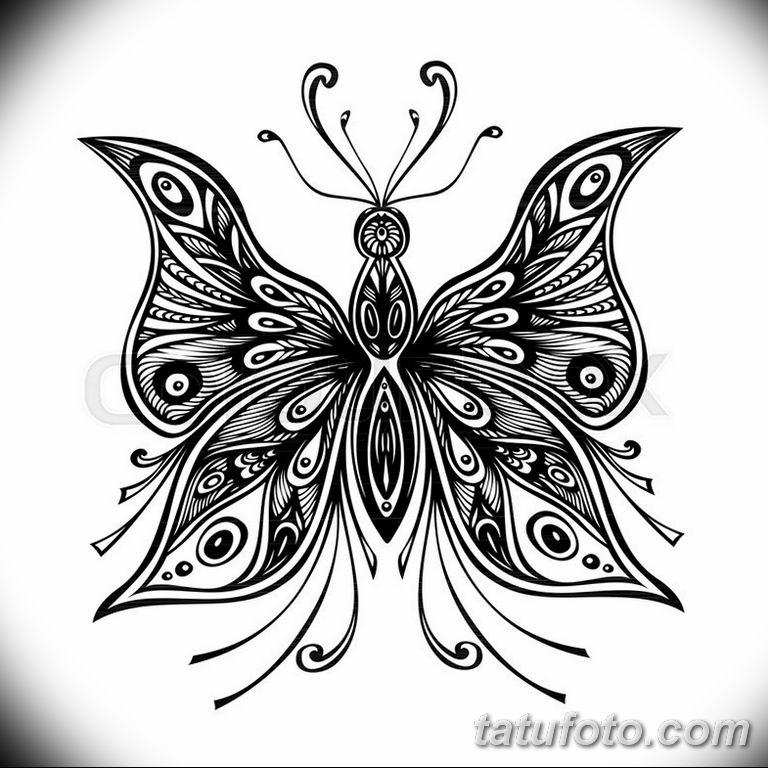 черно белый эскиз тату рисункок бабочка 11.03.2019 №075 - tattoo sketch - tatufoto.com